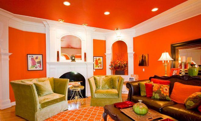 Яркий и радостный интерьер в оранжевом цвете