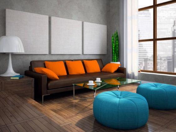 Использование оранжевого и голубого в интерьере в виде акцентов