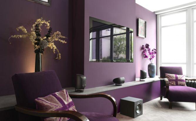 Интерьер в сдержанных тонах фиолетового цвета