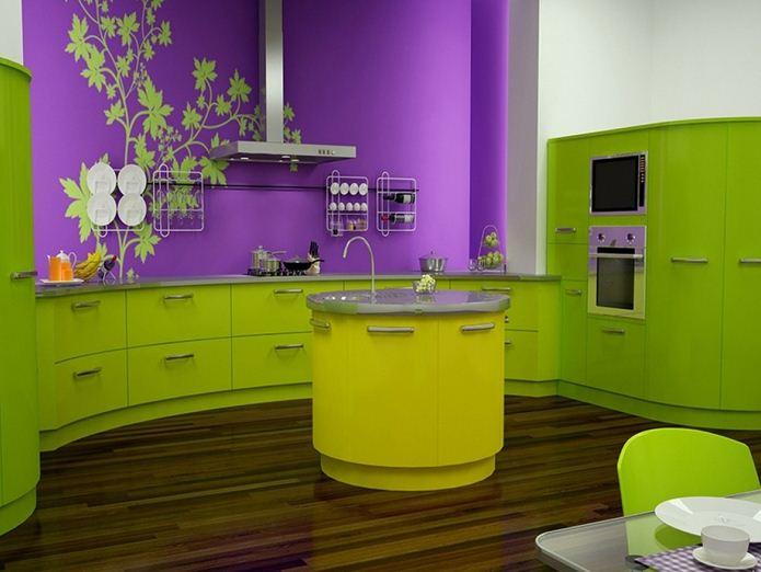 Цвет авокадо в сочетании с фиолетовым выглядит просто потрясающе