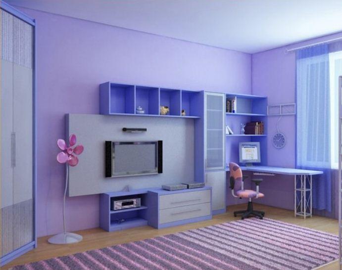 Удачное сочетание фиолетового оттенка с голубым