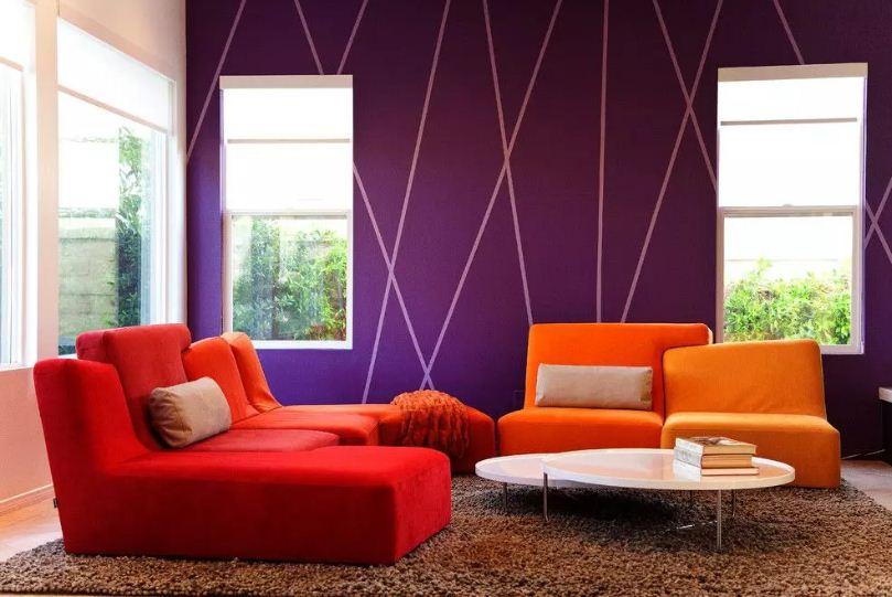 Неожиданное, но в то же время яркое и интересное сочетание различных оттенков оранжевого с фиолетовым цветом