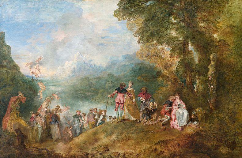 """Антуан Ватто """" Прибытие на остров Киферу"""" ( 1717 год). Холст, масло"""