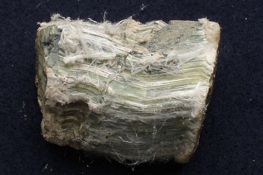 Хризотил - асбест, на котором видны асбестовые волокна