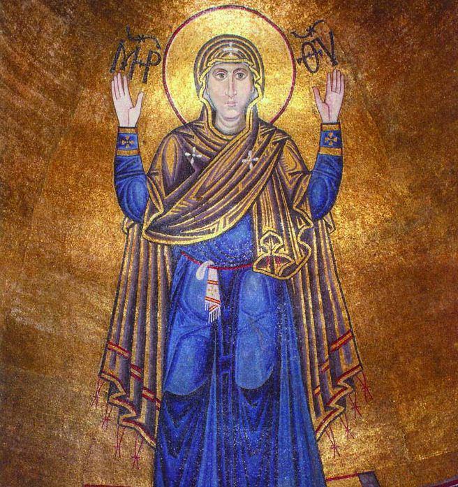 Мария Оранта - мозаика Софийского собора.