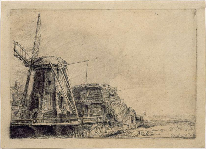 """Рембрандт. Офорт """" Мельница"""" ( 1641 год)"""