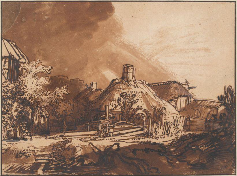 """Рембрандт. Рисунок """" Хижины под небом, предвещающим бурю"""" ( 1635 год)"""
