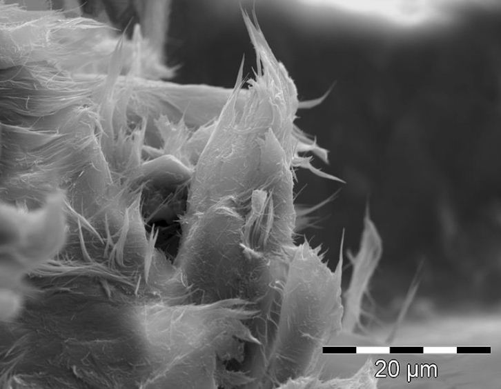 Волокна хризотил - асбеста в битуме под электронным микроскопом