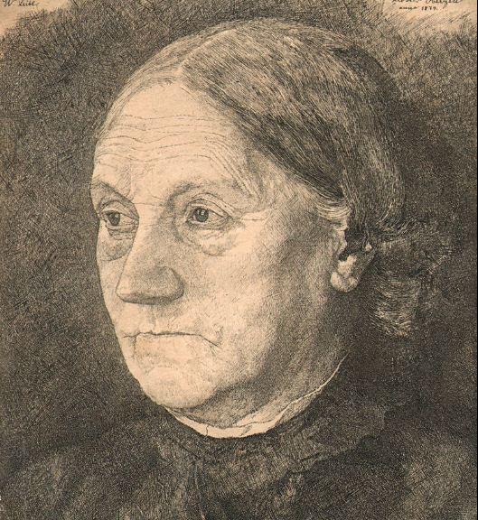 """Вильгельм Лейбль """" Портрет матери Гертруды Лейбль"""" . Офорт ( 1879 год)."""