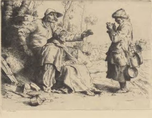 """Уильям Странга """" Лудильщики"""". Офорт, сухая игла ( 1882 год)"""