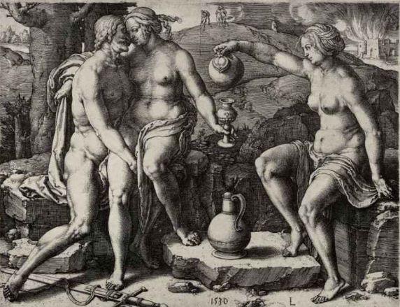 "Лука Лейденский "" Лот с дочерьми"". Резцовая гравюра на меди ( 1530 год)."