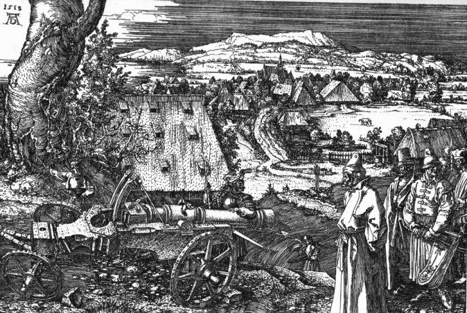 """Альбрехт Дюрер """" Пейзаж с пушкой"""". Офорт на меди ( 1518 год)."""