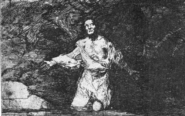 """Франсиско Гойя """" Мрачное предчувствие того, что должно произойти"""" . Офорт из серии """" Бедствия войны"""" ( 1808 - 1814 годы)."""