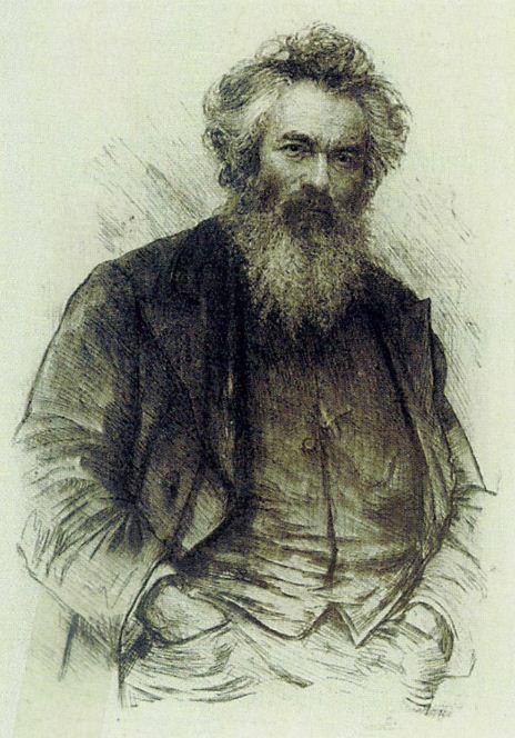 "В. В. Матэ "" Портрет И. И. Шишкина"". Офорт"