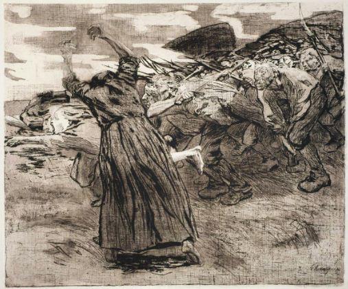 """Кете Кольвиц """" На штурм"""". Офорт из серии """" Крестьянская война"""" ( 1903 год)."""