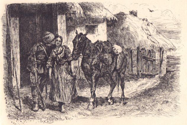 """Е. З. Краснушкина """" Крестьянка прощается с солдатом"""". Бумага, офорт (1886 год)."""