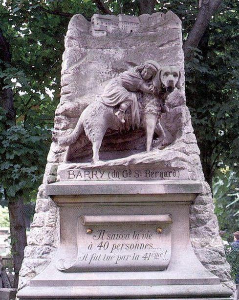 Памятник собаке - спасателю Барри во Франции