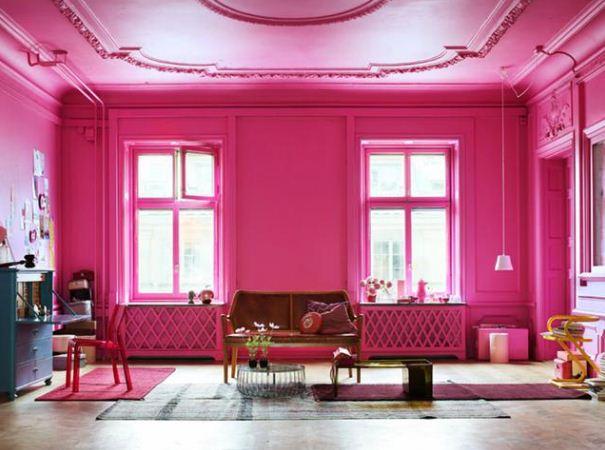 Насыщенный розовый цвет в интерьере