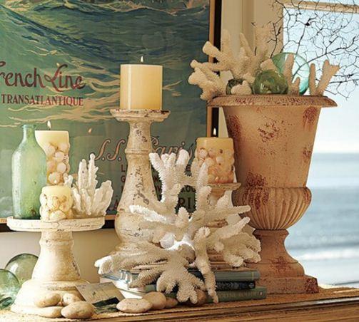 Кораллы в оформлении интерьера в морском стиле