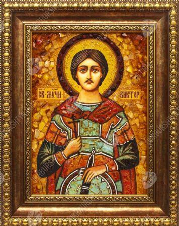 Икона из янтаря Святой мученик Виктор Дамасский