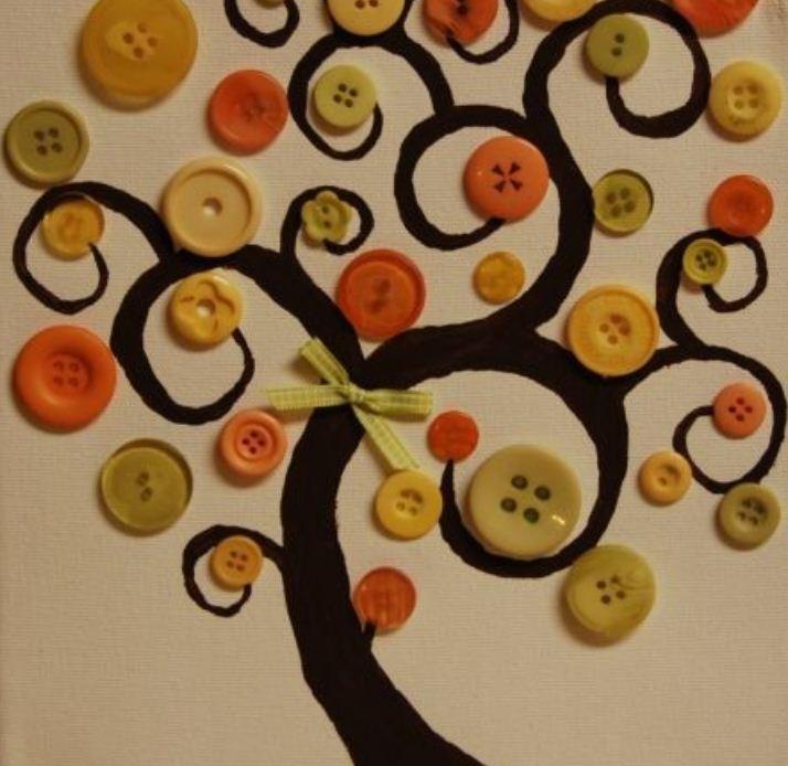 Декоративное панно из пуговиц