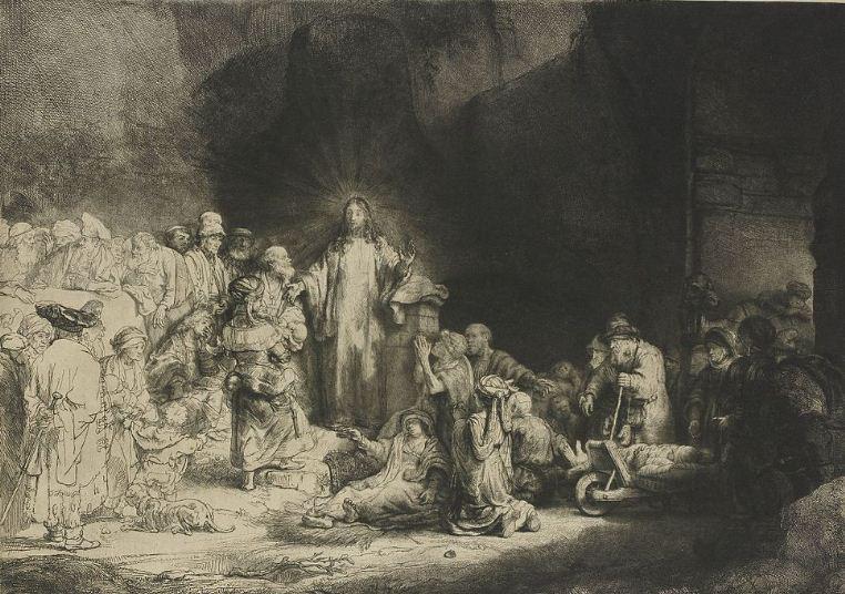 """Рембрандт """" Проповедь Христа"""". Офорт, сухая игла, резец ( 1648 год)."""