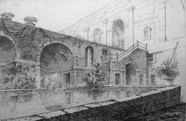 "Жан Клод Ришар "" Вид парка на Вилле Мадама под Римом"". Офорт, акватинта ( 1765 год)."