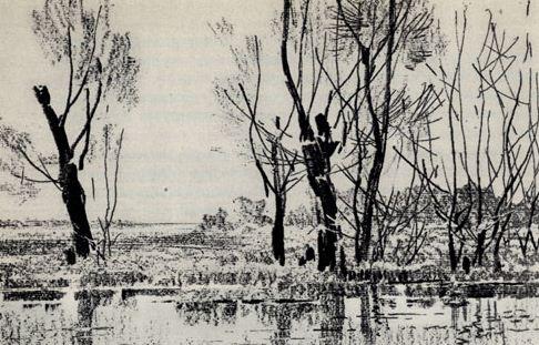 """В. М. Звонцов """" Ранней весной"""". Офорт, мягкий лак ( 1962 год)"""