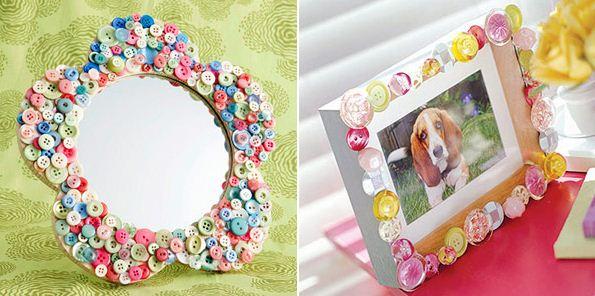Рамка для фото и зеркало, декорированные пуговицами