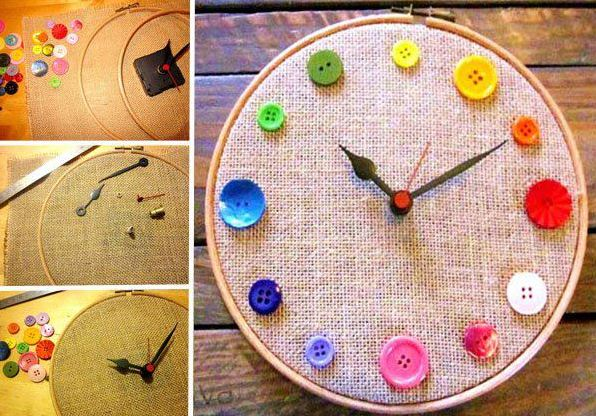 Декорирование пуговицами настенных часов. Последовательность работы