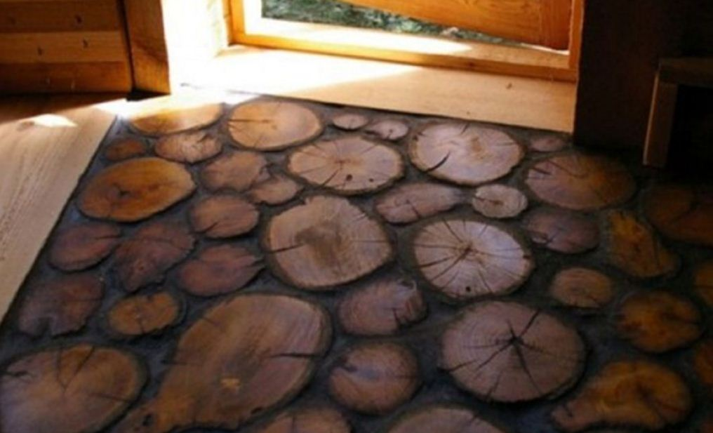 Пол из древесных спилов