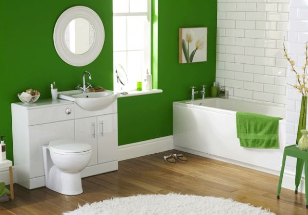 Сочетание цвета авокадо с белым в интерьере ванной