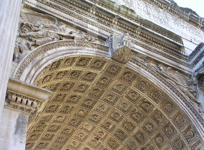 Свод центрального пролета арки Септимия Севера