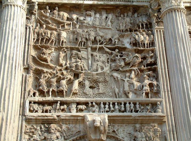 Рельеф на боковой части арки Септимия Севера с изображением осады Селевкии