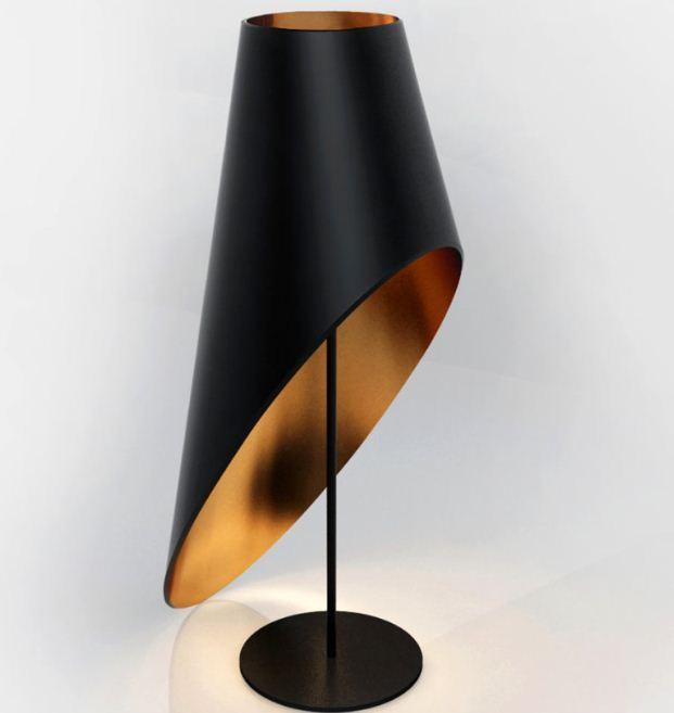 Настольная лампа с плафоном необычной формы