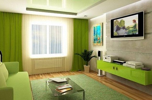 Похожие оттенки одного цвета в зеленых интерьерах