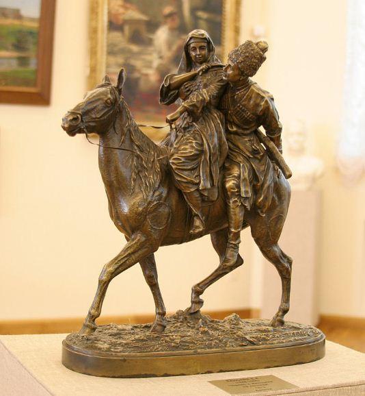 """Е. Лансере. Скульптура """"Черкес и женщина на лошади""""."""