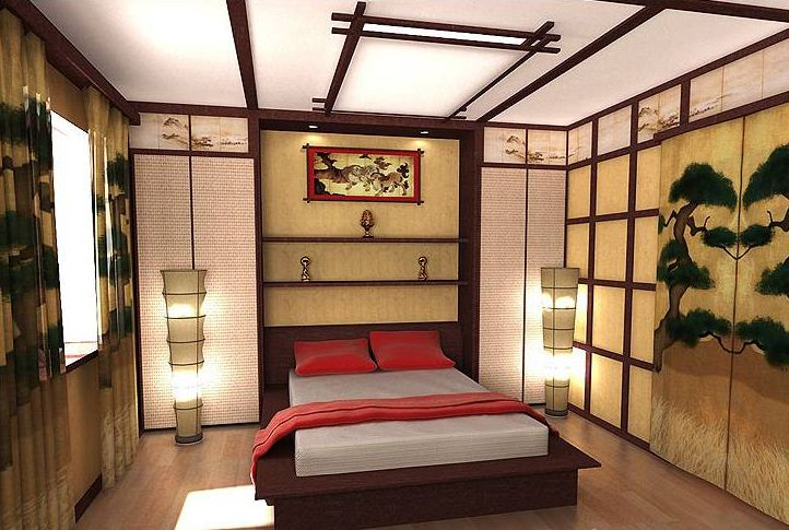 Дизайн спальни в японском стиле - простота и минимализм