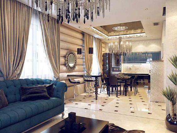 Массивная люстра станет украшением комнаты в стиле арт - деко