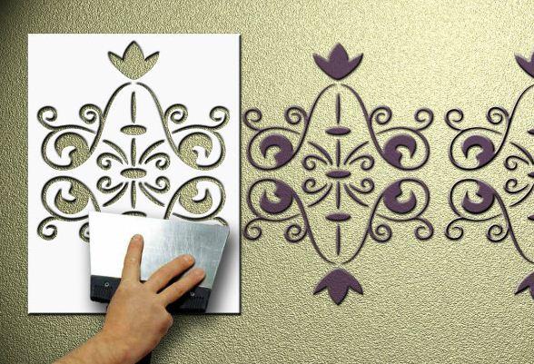 Многоразовый объемный трафарет для декора стен