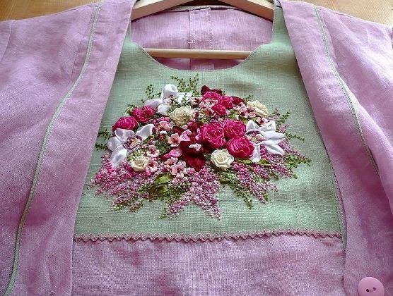 Украшение одежды вышивкой лентами