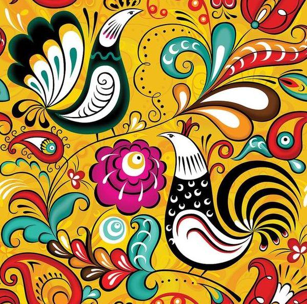 Красочный элемент ракульской росписи