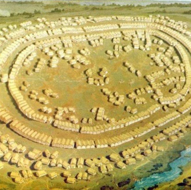 Схема поселений, характерных для Трипольской культуры