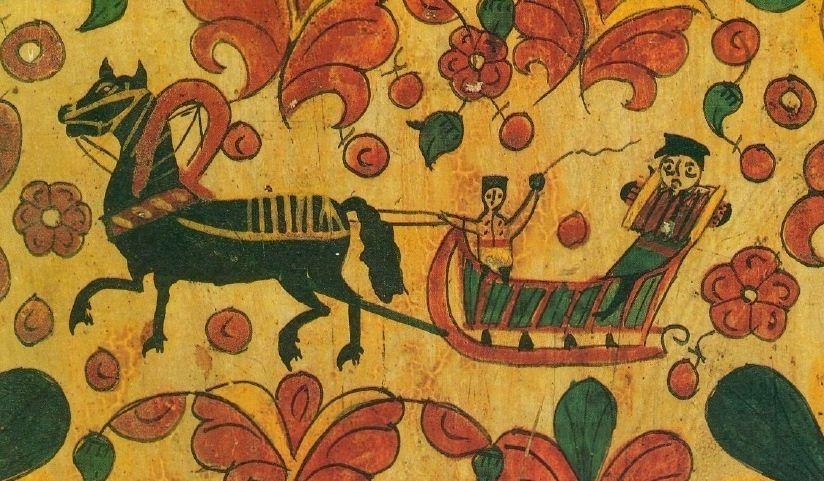 Фрагмент пермогорской росписи на старинной прялке, сделанной в конце XIX века