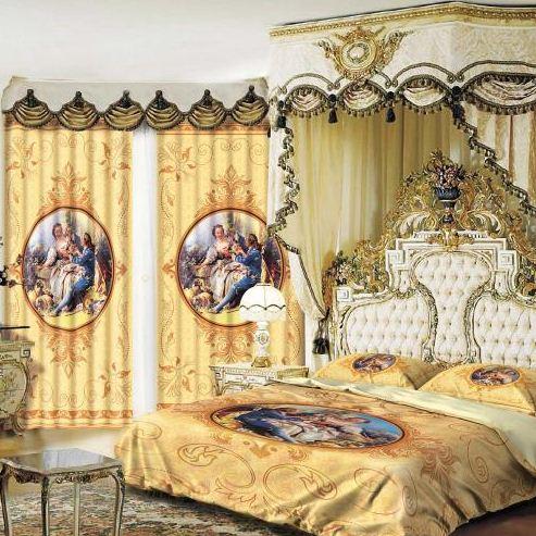 """Комплект постельного белья и тюль """" Аморе"""" гармонично смотрятся в интерьере спальни"""