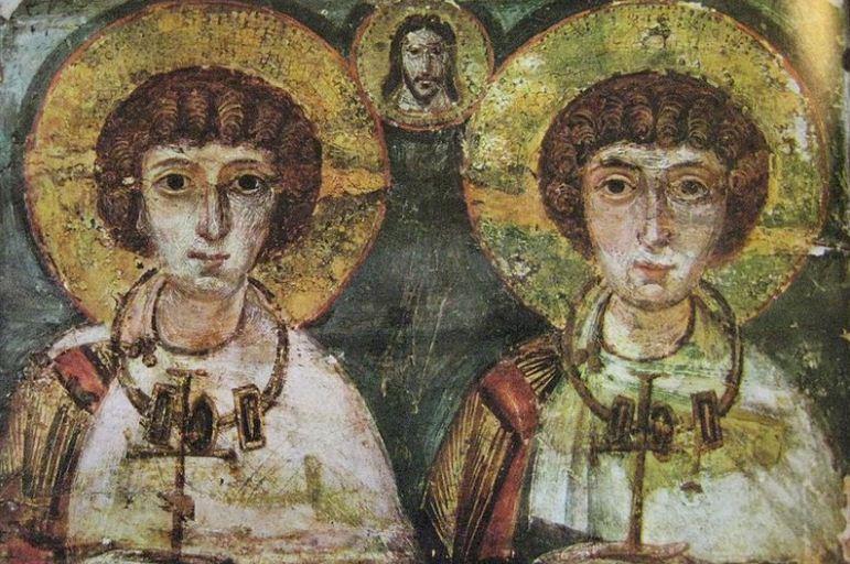 Святой Сергий и Вакх ( VI - VII столетия нашей эры) - древняя икона эпохи раннего христианства