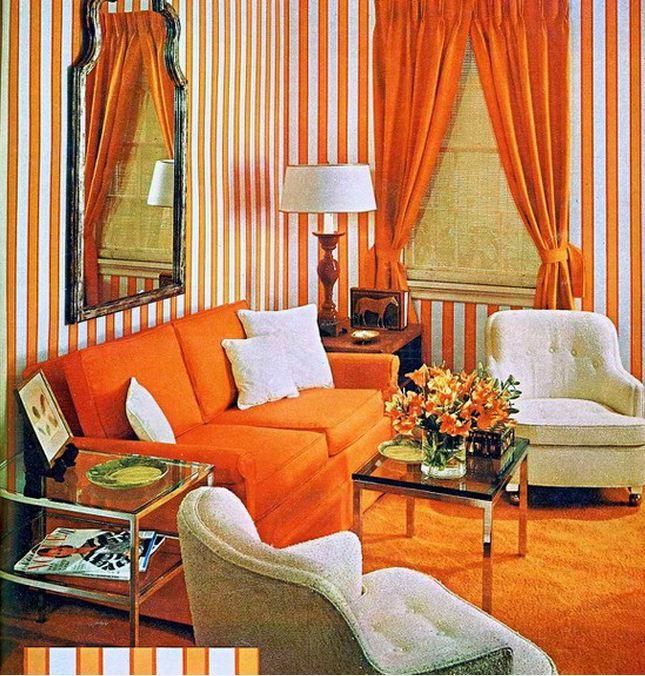 Обивка мягкой мебели и текстиль в жарких апельсиновых тонах