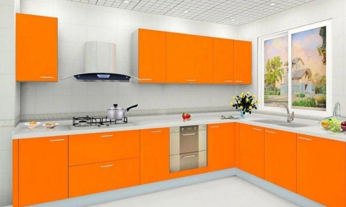 Кухонный гарнитур в апельсиновом цвете