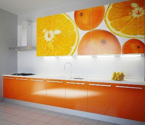 Апельсиновые нотки в оформлении кухни