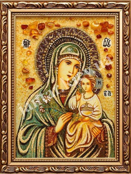 Икона Неувядаемый цвет, инкрустированная янтарем